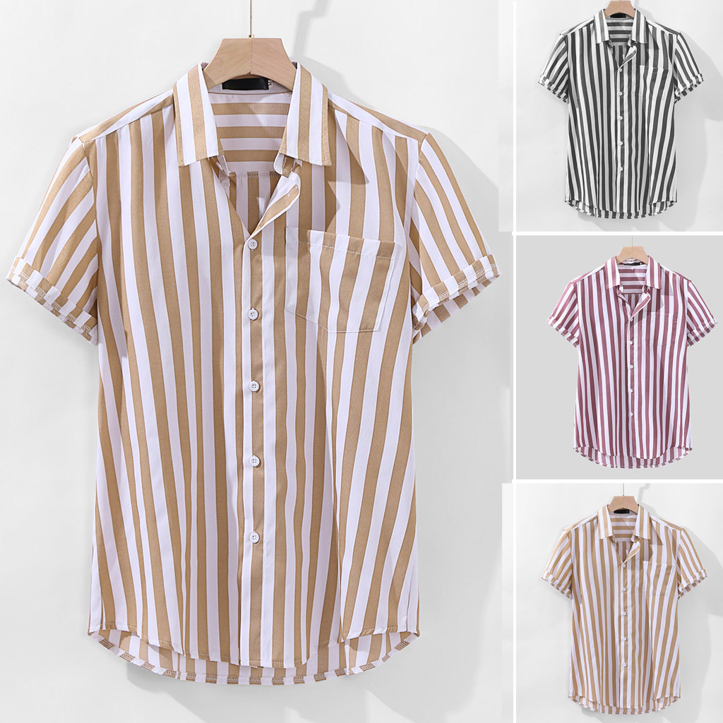 Spring and Autumn Men's Business Slim Men's Striped Shirt Trend Casual Long Sleeve Shirt