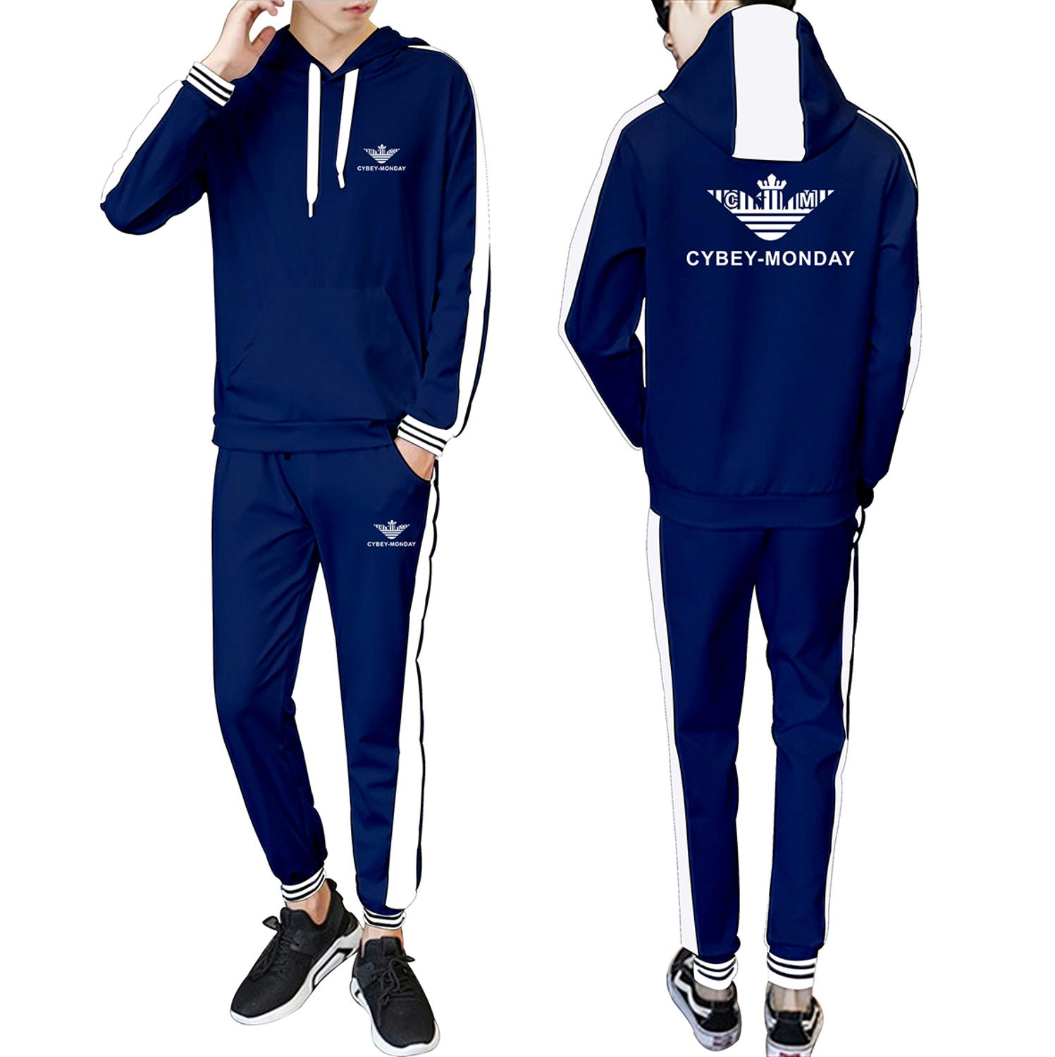 Sports New Logo 2020 Spring and Autumn New Hooded Stitching Fashion Casual Suit Fashion Men's and Women's Sports Casual Suit 3