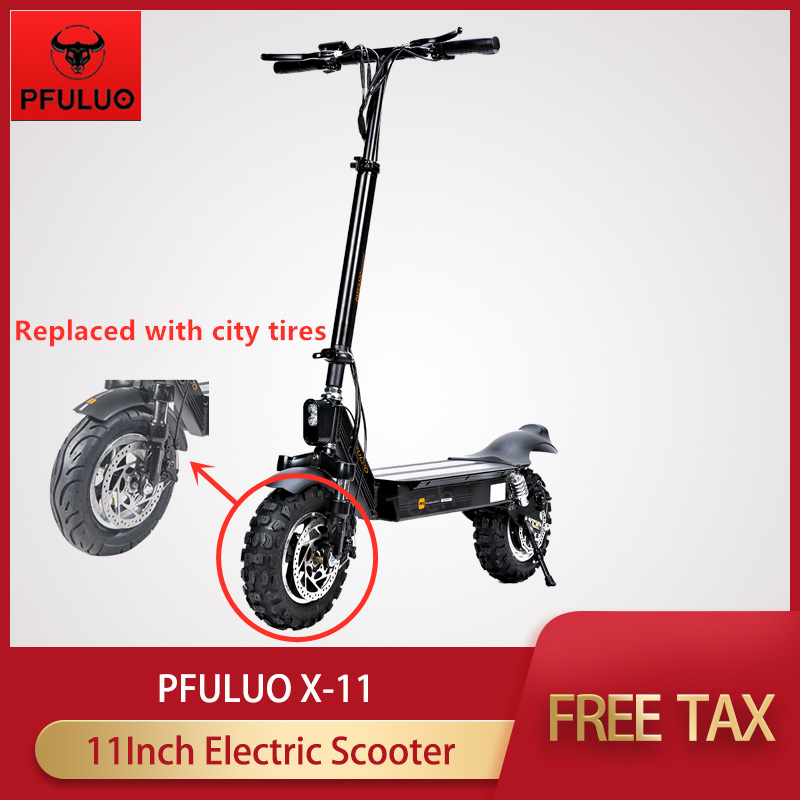 2019  PFULUO X-11 Smart Electric Scooter 1000W Motor 11 inch 2 wheel Replaced with city tires Board hoverboard skateboard 50km/h