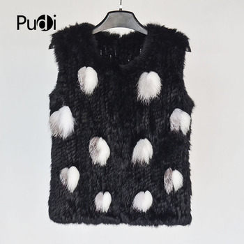 Pudi women real rabbit fur vest 2020 winter new girl genuine fur jacket coats with raccoon silver fox black color VT806 image