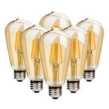 6 Pçs/set Retro Edison Lâmpada E27 220V ST64 4W lampara 6W Filamento Edison Ampola Incandescente Lâmpadas Do Vintage do vintage Levou