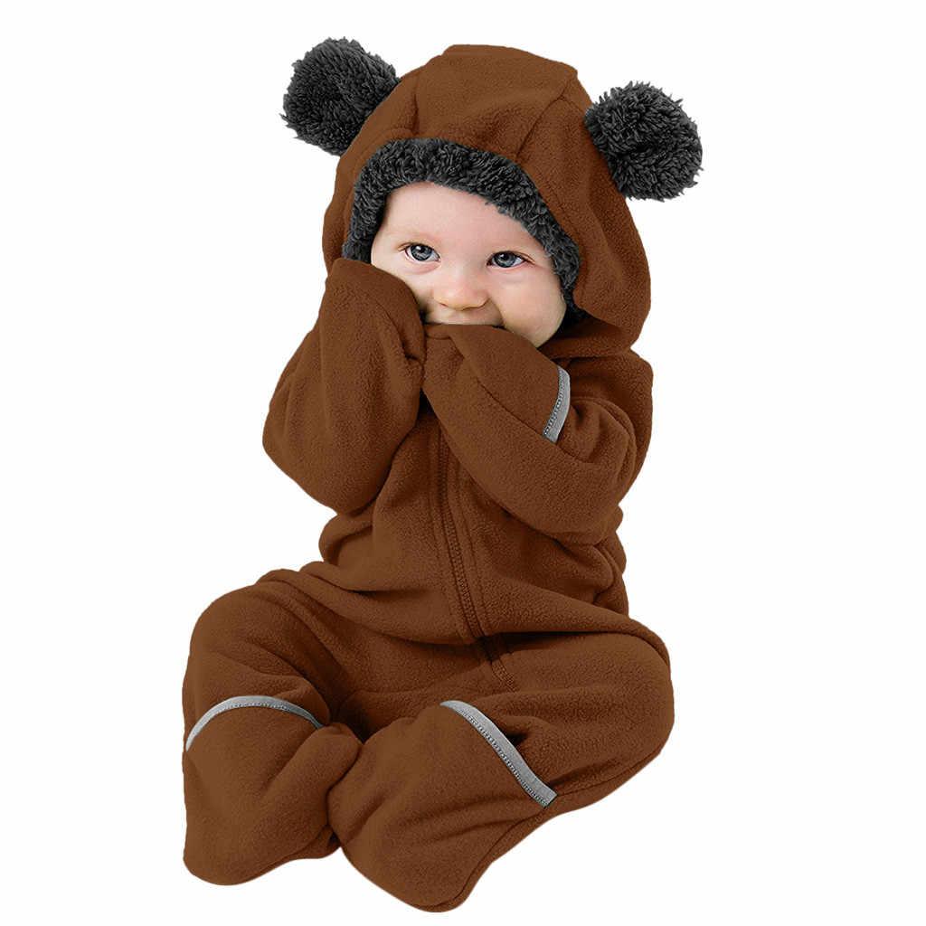 Baby Peuter Baby Meisjes Jongens Fleece Overalls Fleece Oren Hoodie Romper Zip Kleding Jumpsuit Baby Meisje Rompertjes Winter 2019
