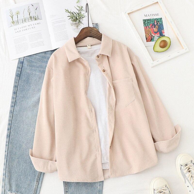 Summer Blouse Womens Shirt Vintage Top Long Sleeve Boyfriend Corduroy Shirt Women Tops Casual Blouse Harajuku Shirts(China)