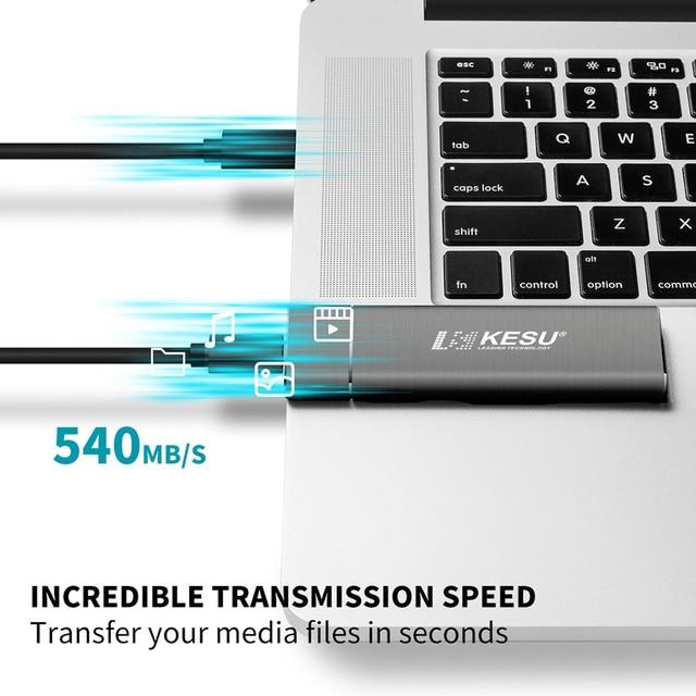 KESU SSD 256GB 512GB 1T Portable Solid State Drive USB 3.1 Gen 2 540M/s External Storage Compatible for Mac Latop/Desktop/Tablet 4