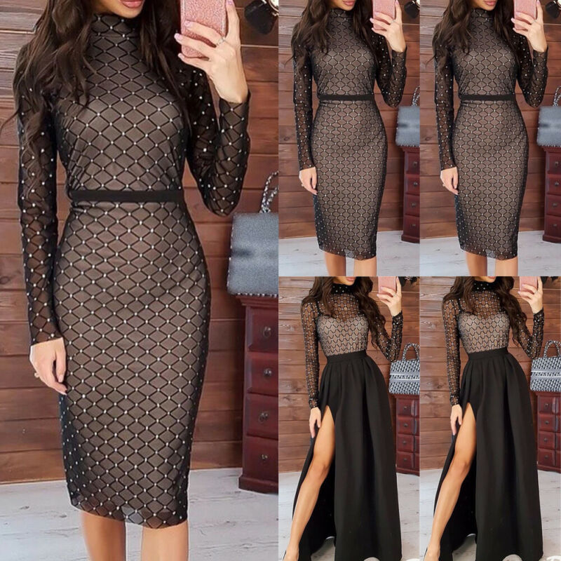 2020 Women Sexy Rhinestones Mesh Hollow Out Transparent Long Sleeve Dress Fishnet Bodycon Club Party Slim Fit Dresses Vestidos