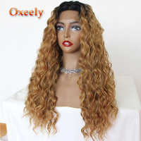Oxeely Blonde Ombre Hair Lace Front Wigs Loose Curl Color #24 Bangs Free Part Glueless Synthetic Lace Front Wigs for Women