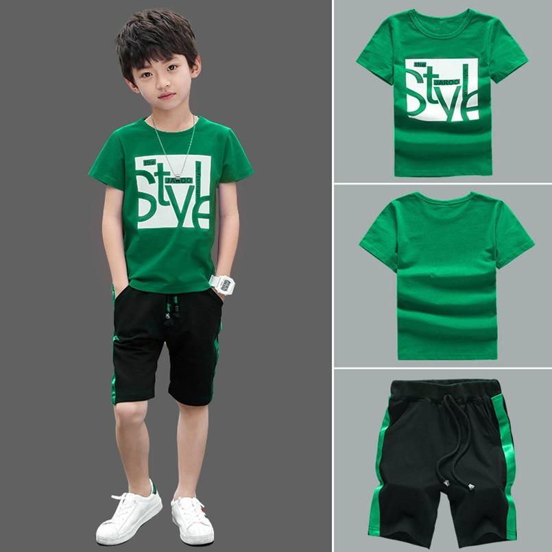 2019 Summer Boy Set Boys Short Sleeve T-Shirt +shorts Pants Children Sports Suit Kids Boy Clothes Sets
