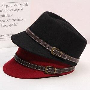 Image 4 - 冬の女性の固体カラー八角帽子女性党のfedora帽子ファッションキャスケットキャップ100% ウール馬術キャップ56 58センチメートル