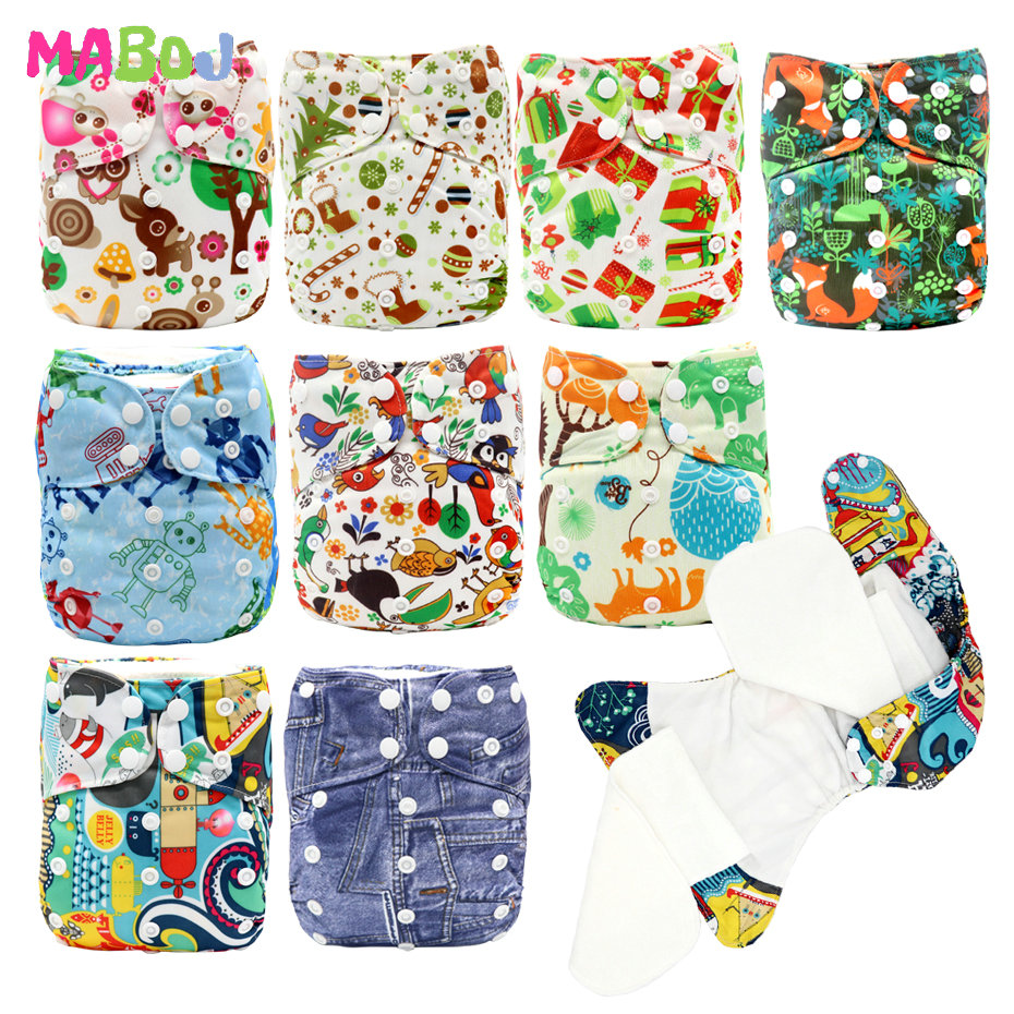 MABOJ AIO Cloth Diapers Baby Nappy One Size Washable Diaper Reusable Bamboo Diaper Waterproof Double Gusset Nappies Dropshipping