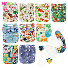 купить MABOJ AIO Cloth Diapers Baby Nappy One Size Washable Diaper Reusable Bamboo Diaper Waterproof Double Gusset Nappies Dropshipping дешево