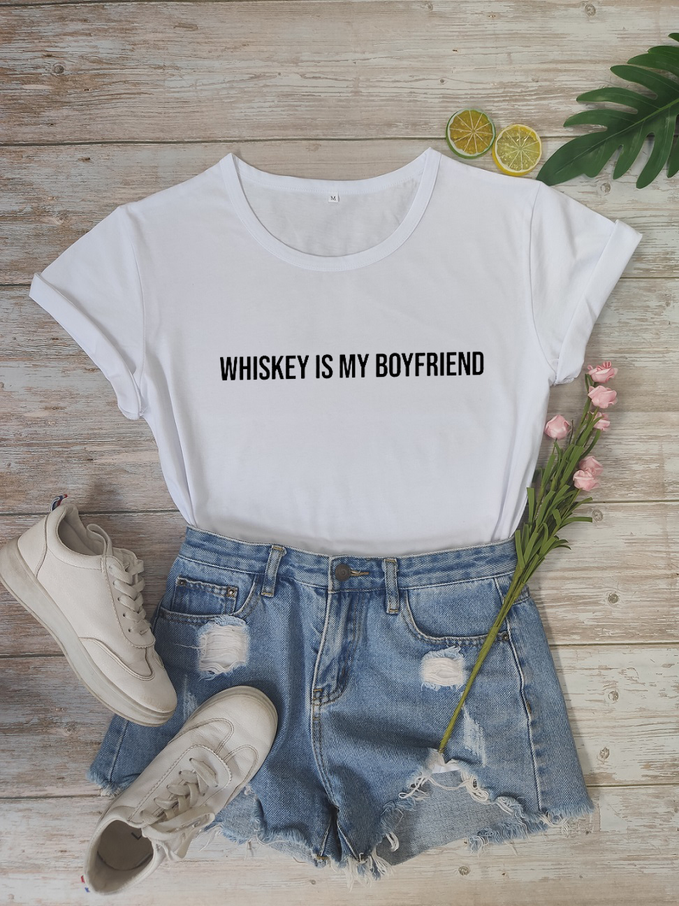 Momen Grunge Tops Whiskey Is My Boyfriend T-shirt Whiskey Lover Shirt Funny Valentines Day Shirts Single Life Tee image