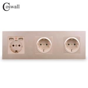 Image 3 - COSWALL 3 Gang Wall EUซ็อกเก็ตสายดิน + Dual USBชาร์จพอร์ตซ่อนนุ่มไฟLEDสีดำสีขาวPCแผง