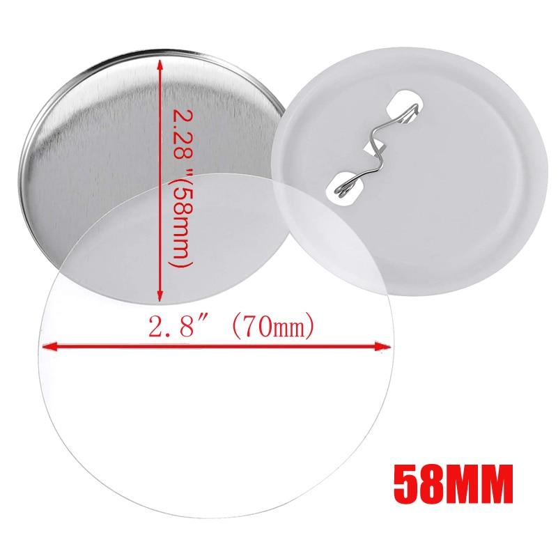 58mm Badges Blank Pin 100pcs Button Maker Plastic Button Parts Supplies Round Badge Punch Press Machine
