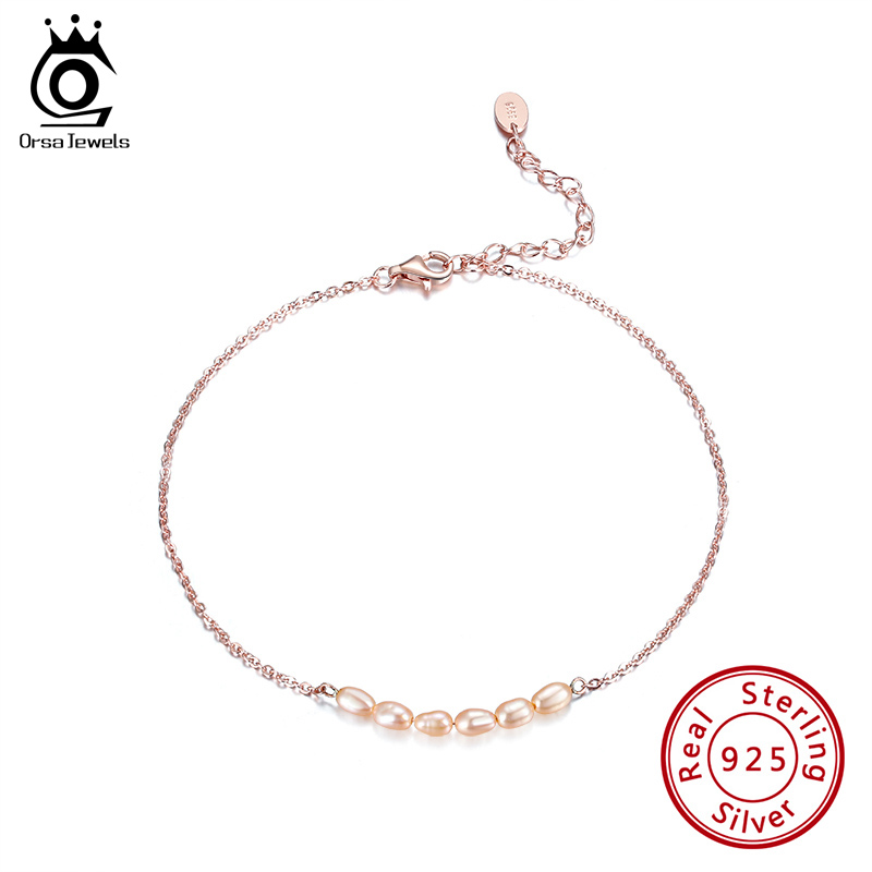 ORSA JEWELS Brand 925 Silver Freshwater Pearl Anklet 925 Sterling Silver Ankle Chain for Women 2020 Summer New Jewelry SA001