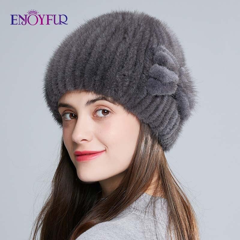 ENJOYFUR Natural Mink Fur Hats For Women Winter High Quality Knitted Fur Caps Thick Warm Russian Female Hat