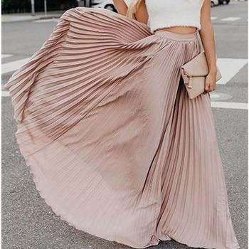 Hirigin Spring 2020 Women Long Metallic Silver Maxi Pleated Skirt Midi Skirt High Waist Elascity Casual Party Skirt Vintage ruched high waist maxi trumpet skirt