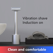 Manual Safety Razor Head Vibration IPX7 Waterproof Electric Men's Shave Razor Blade Vibration Manual Shaver For Gift