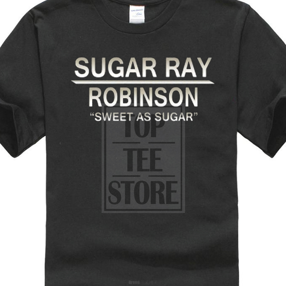 100% Cotton T Shirt For Boy Sugar Ray Robinson Sweet Like Sugar Boxer Legend Champ T Shirt Print Cotton High Quality image