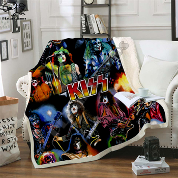 New KISS Rock & Roll All Nite Party Blanket 3D Print Sherpa Blanket on the Bed Home Textiles Dreamlike Style фото