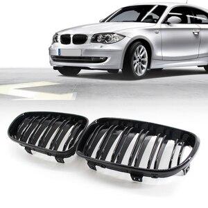 Image 5 - Grade de rim para bmw e81 3 door e87 5 door 1 série dupla slat gloss preto automóvel peças de decoração exterior