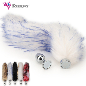 Fox Tail Anal Toys Plush Magnet Metal Plug Sex Toy for Women Man Couple Gay BDSM Toy Cosplay Anal Tail Homosexual Animal Tail SM