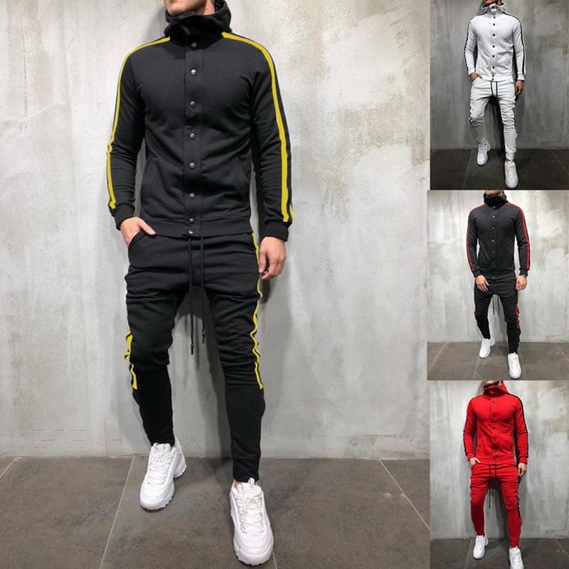 HEFLASHOR Autumn Men 2 Pieces Set Fashion Striped Oversized Tracksuit Casual Button Streetwear Hooded Sweatshirt Pants Suit Male