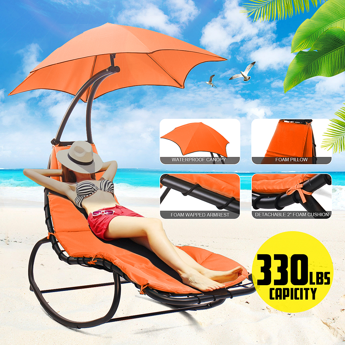 Outdoor Hanging Curved Steel Chaise Lounge Chair Swing With Built-In Pillow And Removable Canopy Swing Chair