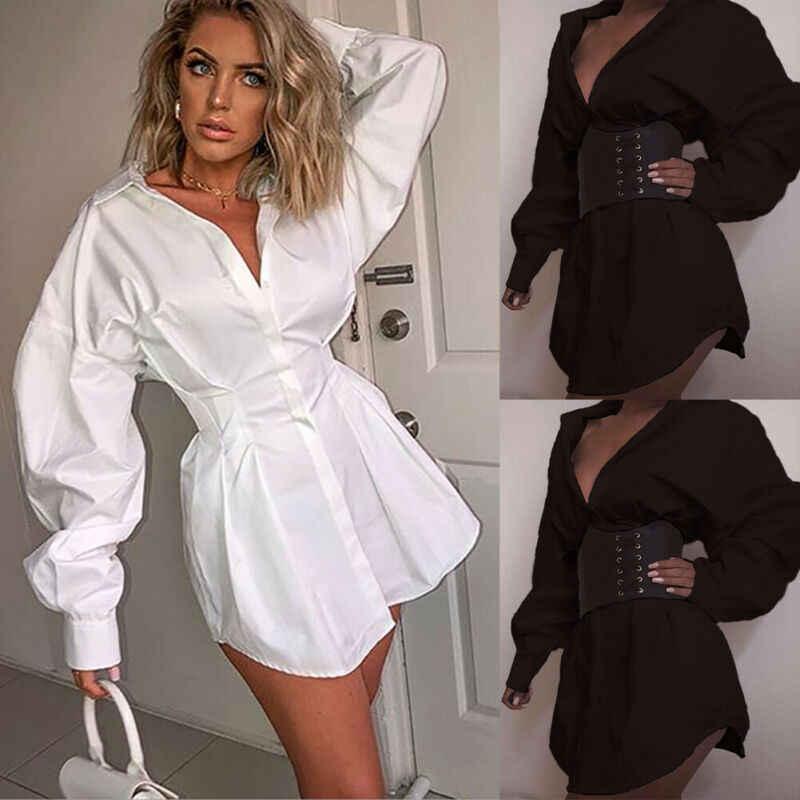 חדש אלגנטי נשים מזדמן ארוך שרוול Loose מיני שמלה שחור לבן סתיו סקסי V צוואר המפלגה שמלות S-XL
