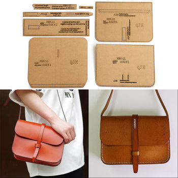 цена на 1Set DIY Kraft Paper Template Fashion Upscale Shoulder Bag Crossbody Bag Leather Craft Pattern DIY Stencil Sewing Pattern 21*16