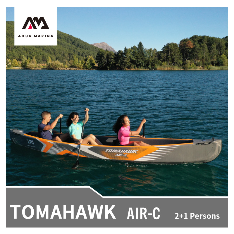 2020 New AQUA MARINA Sports Kayak TOMAHAWK-Air-C Inflatable Canoe  2+1 Persons Inflatable Boat Rowing Water Sports 478*88cm