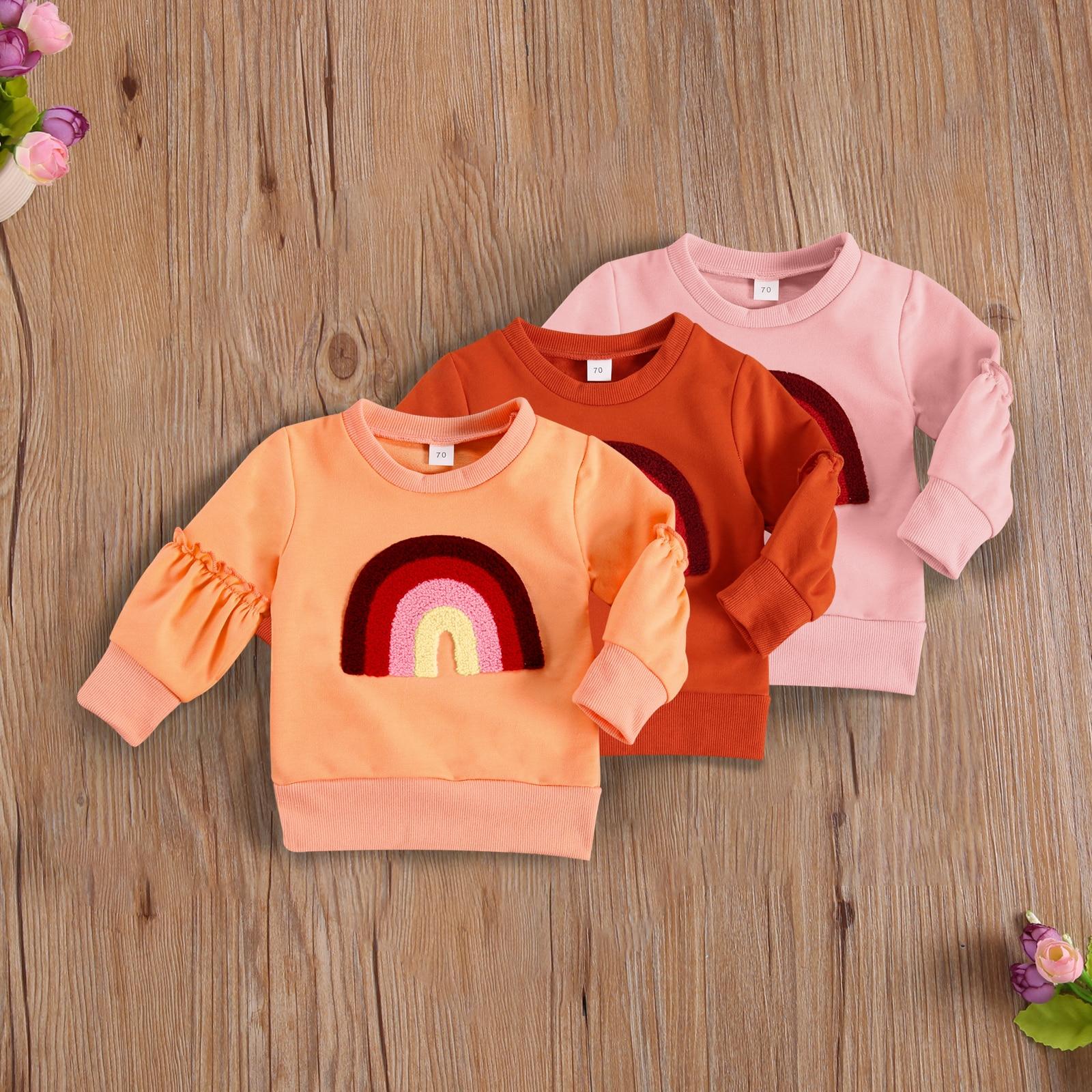 2021 Kid Girl Top Autumn Crewneck Sweatshirts Long Sleeve Casual Elastic Cuff Hem Windproof Warm Rainbow Sweatshirt 0-24M