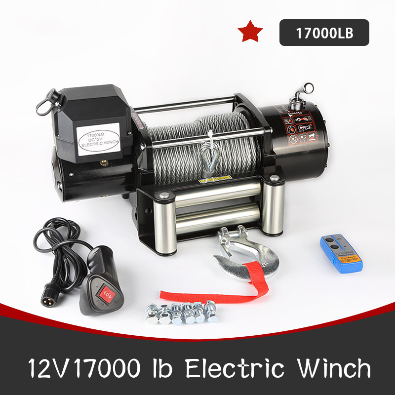 12V 17000LB Electric Winch Portable Electric Winch Wire Rope Electric Winch