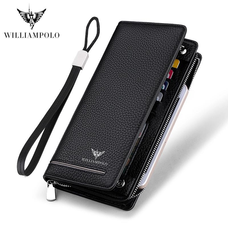 2019 Wallet Male Genuine Leather Luxury Brand Men Zipper Wallets Long Men Purse Clutch Business Wallet WILLIAMPOLO 219