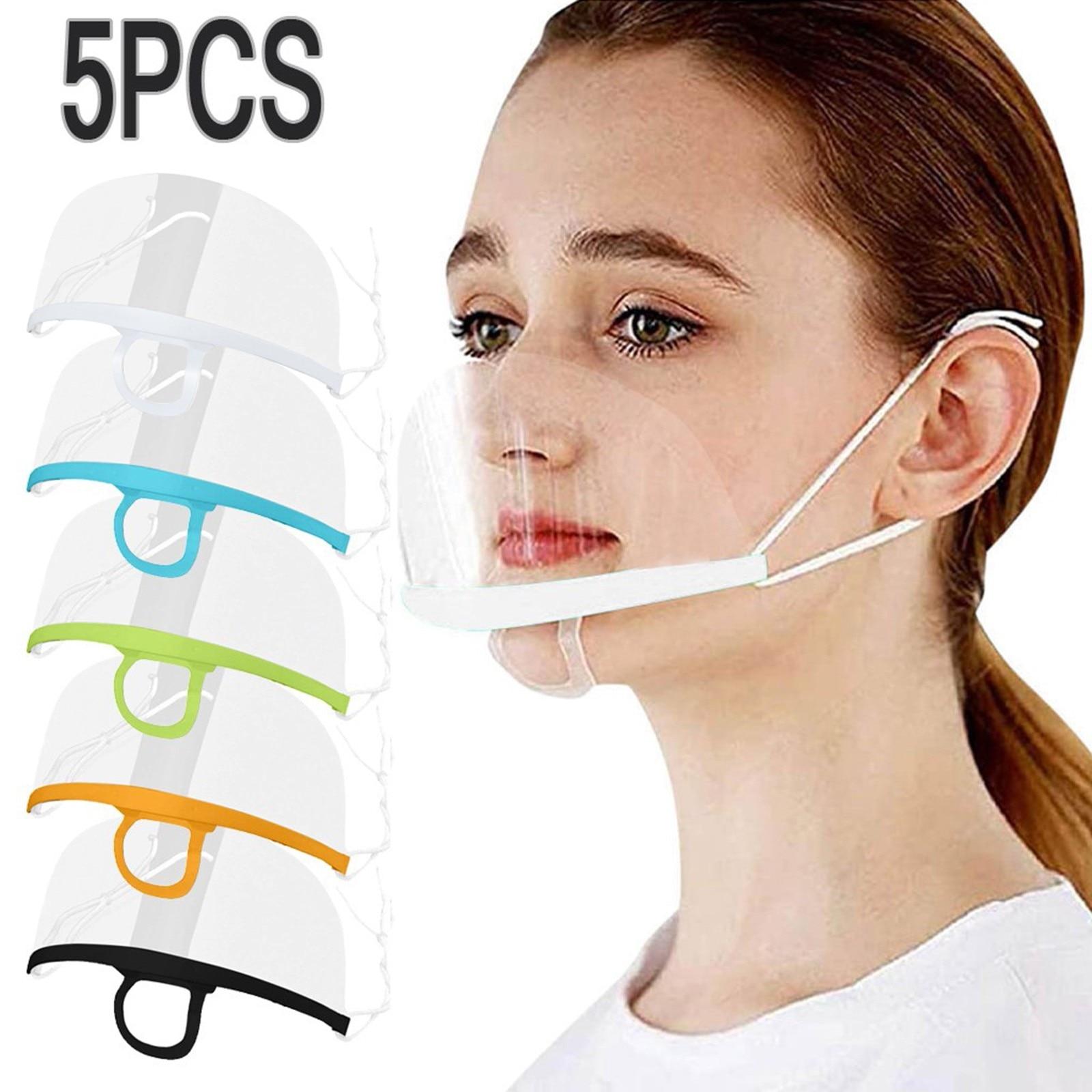 Прозрачная пластиковая защитная маска 5 шт., моющиеся многоразовые маски для шеф-повара, для шеф-повара, для языка губ, маска для лица и рта