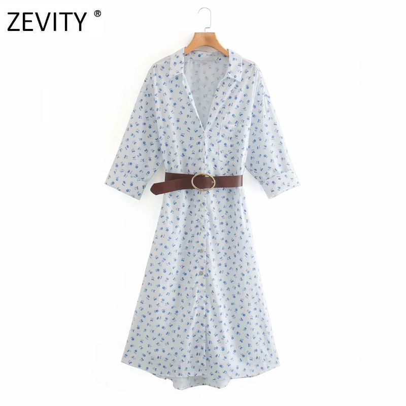 Zevity Women elegant lapel collar flower print breasted shirt dress office lady three quarter sleeve sahses midi Dresses DS4191