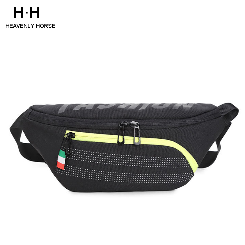 Black Waist Pack Running Water Repellent Mobile Phone Holder Men Gym Fitness Travel Pouch Belt  Chest Chest Bag For Men