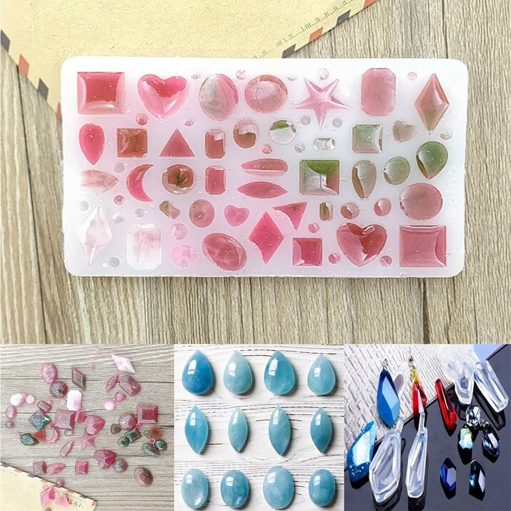 Geometric Resin Cabochons Molds Heart Round Oval Drop Shaped Silicone UV Mold Resin Pendant Jewelry Making DIY Tools Set