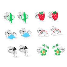 LUXUKISSKIDS-Conjunto de pendientes coreanos de acero inoxidable 2020 con forma de corazón de fruta, joyería de moda para mujeres y niñas