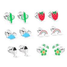 LUXUKISSKIDS Fruit Heart korean stud christmas earrings Set Cute 2020 stainless steel earings for women girl Fashion Jewelry