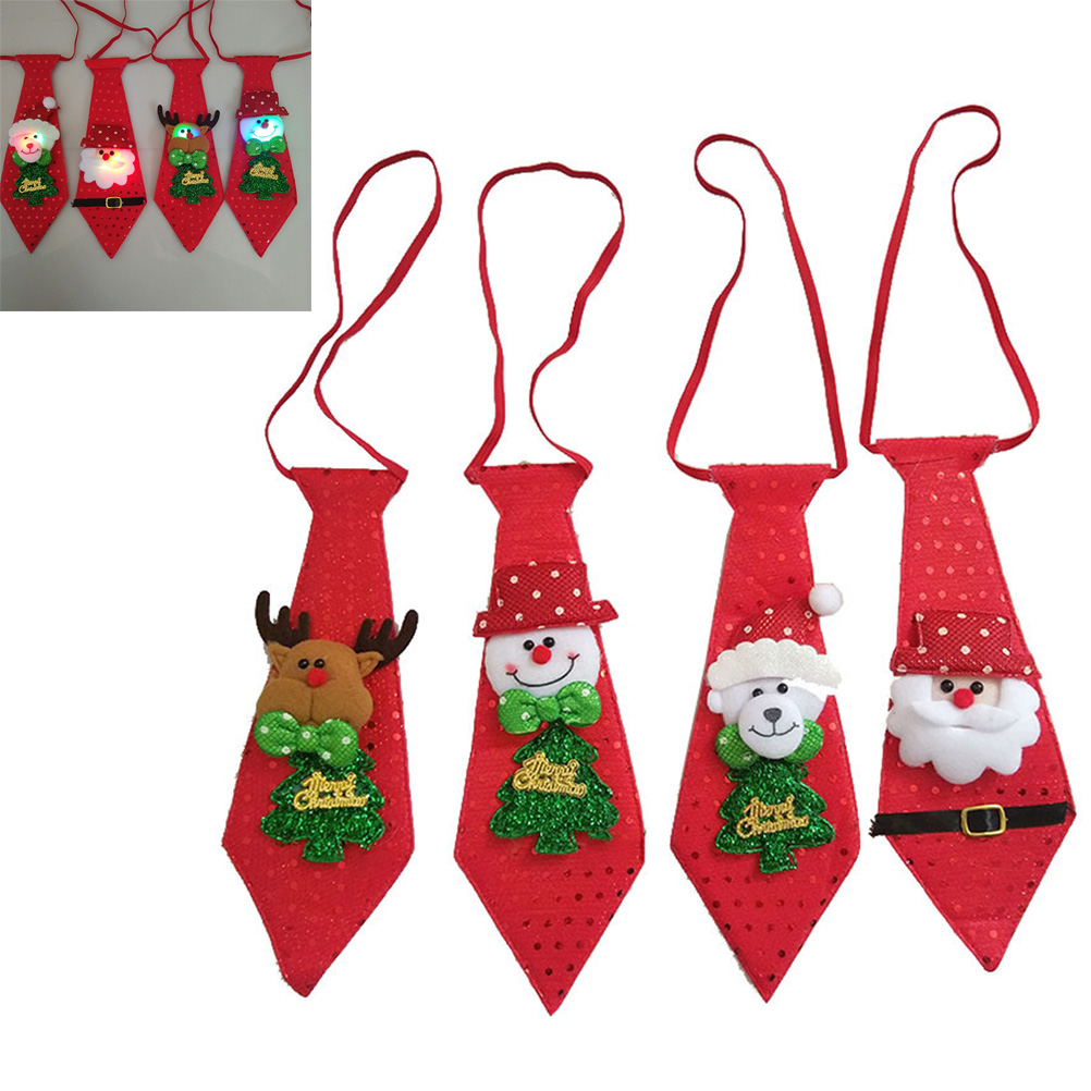 4Pcs Christmas Santa Tie Kids Glowing Christmas Ties Santa Claus Snowman Elk Bear Bow Ties Kids Gift  Party Decor New Year