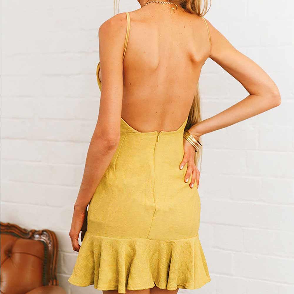 CHAMSGEND 2020 Casual Girl Summer Dress New Women Sexy Dress Off Shoulder Backless Sleeveless Dress Mini Party Beach Dress