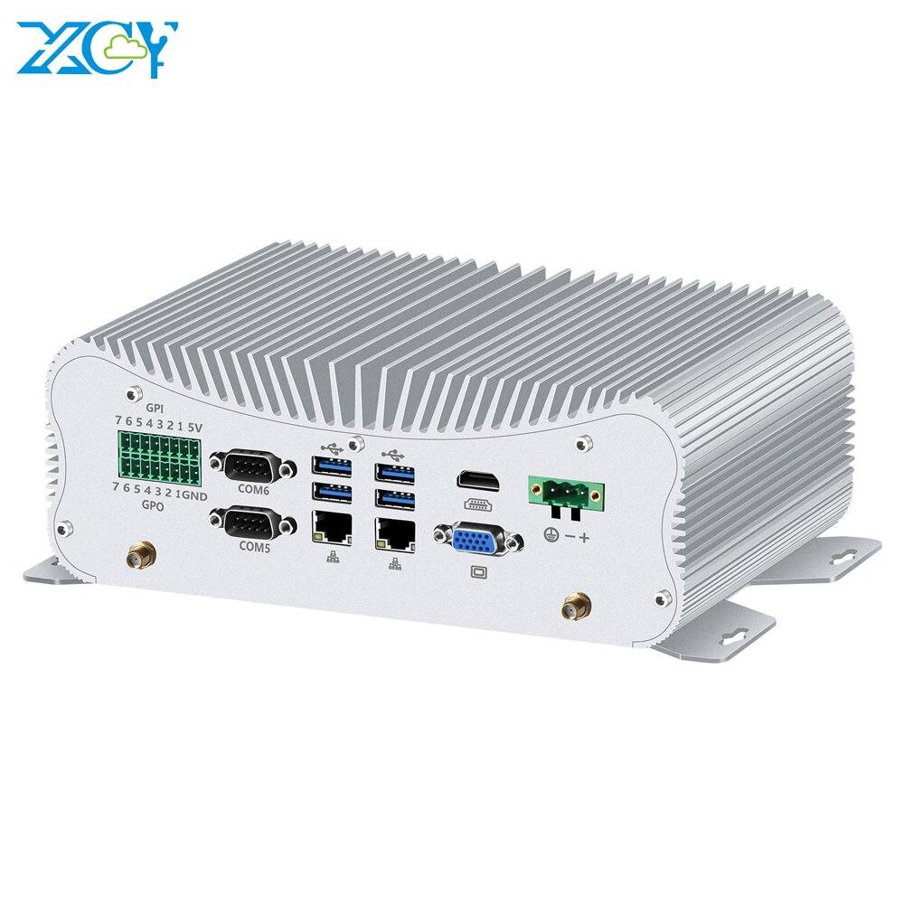 XCY Мини ПК Intel Core i5 10210U i7 10510U 6 * RS232/422/485 2 * Gigabit Ethernet WiFi Bluetooth 6 * USB LPT PS/2 HDMI VGA 4G SIM GPIO
