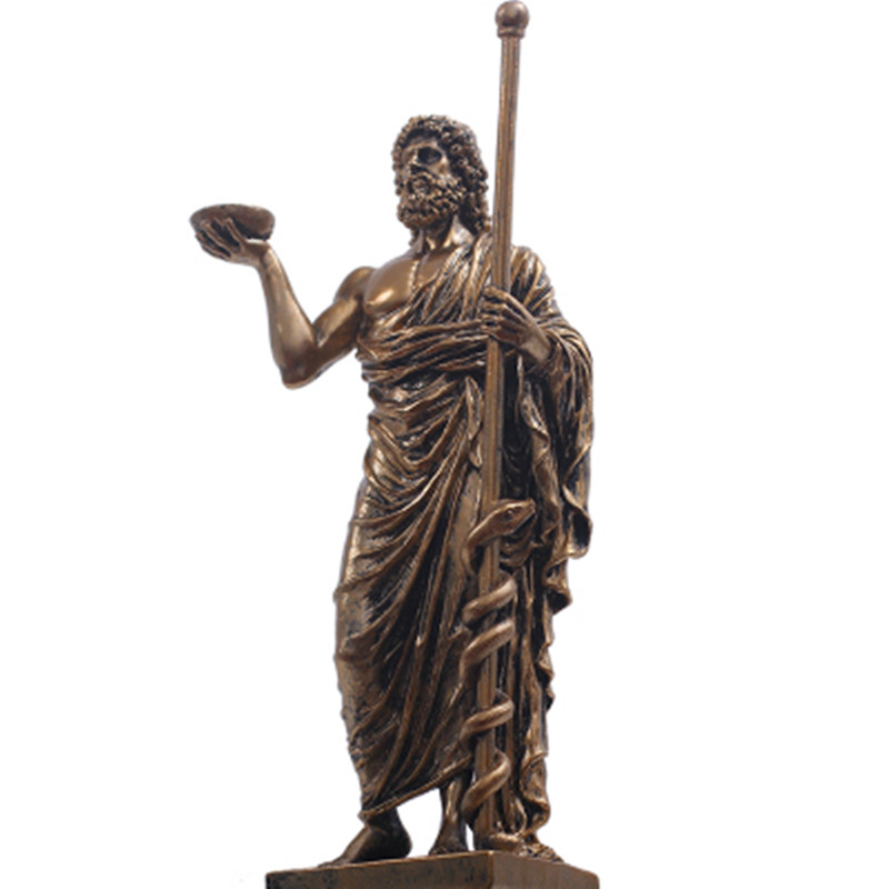 Greek Mythology Asclepius Aesculapius Resin Art&Craft Retro Statue Creative Mythological Figure Home Decorations A562