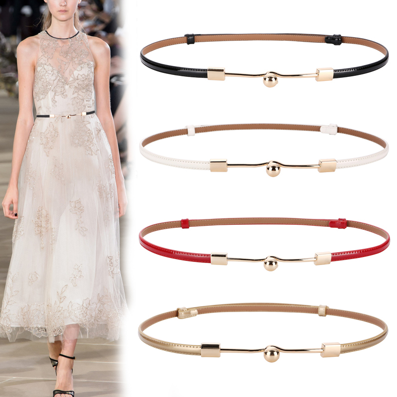 female <font><b>gold</b></font> buckle strap belt cow leather belts for <font><b>women</b></font> high quality cowhide fashion thin <font><b>dress</b></font> adjust wasitband free shipping image