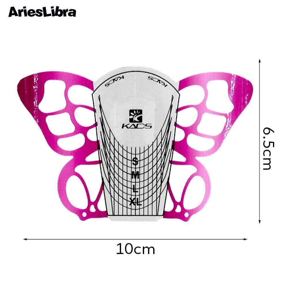 Arieslibra 100 Pcs/set Butterfly Kuku Seni Kuku Alat Nail Art Tip Ekstensi Bentuk Kuku untuk Akrilik Sinar UV gel