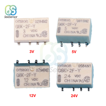 5Pcs/lot DC 3V 5V 12V 24V SMD G6K-2F-Y Signal Relay 8PIN for Omron Relay недорого