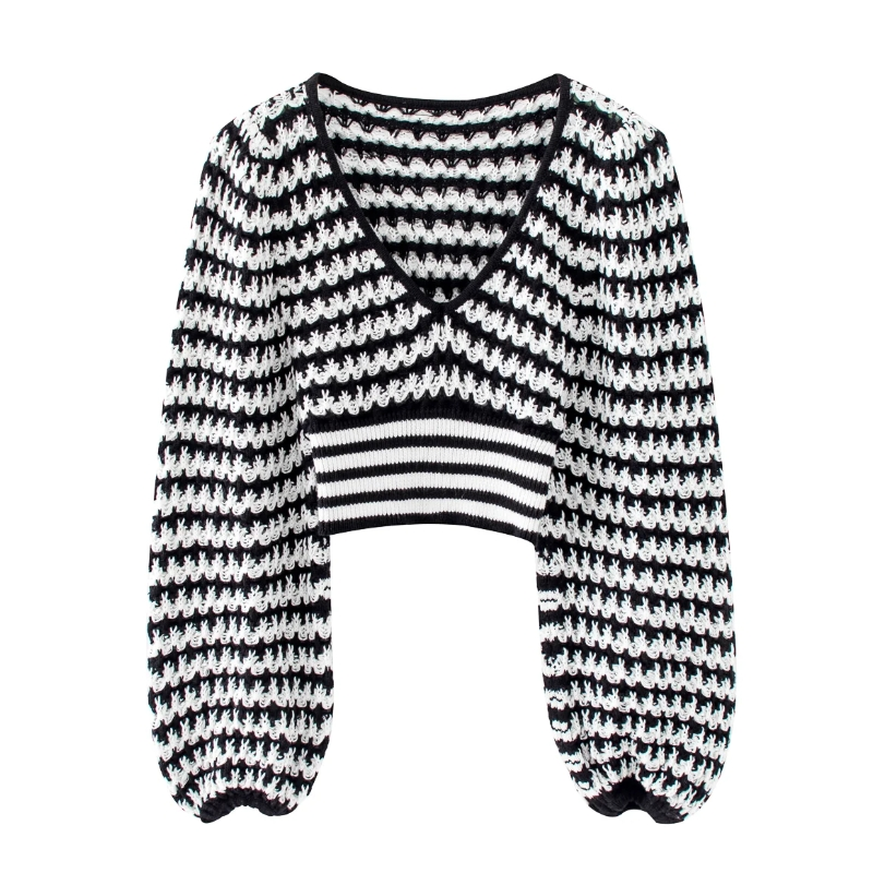 2020 New Women V Neck Black White Patchwork Short Sweater Ladies Basic Knitted Casual Slim High Street Sweaters Chic Tops S258