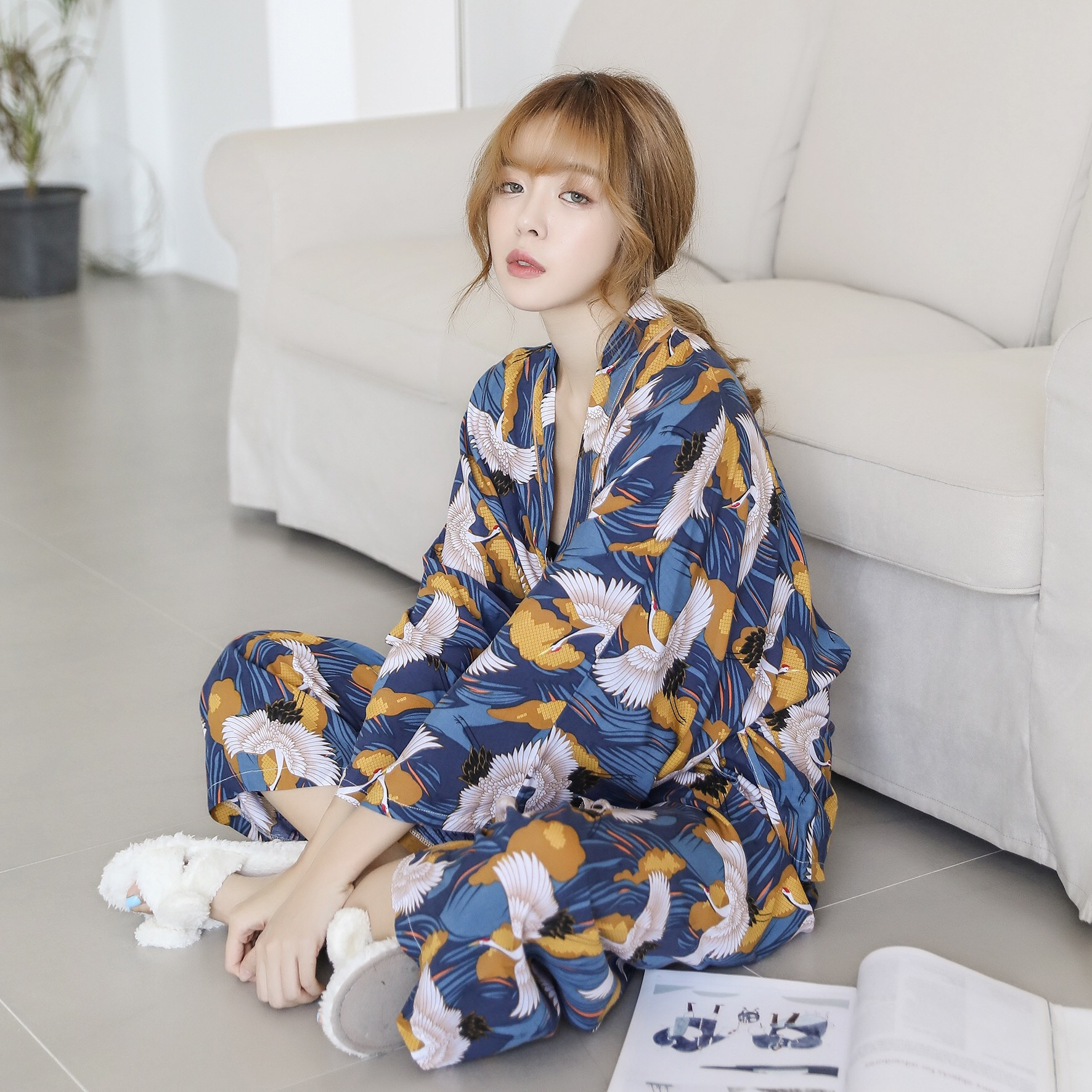 Autumn New Products Comfortable Cotton Silk WOMEN'S Pajama Suit Soft Breathable Crane Japanese-style Kimono Bandage Cloth Home W