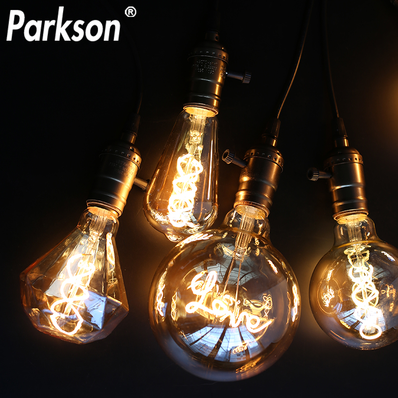 AC 220V Retro E27 LED Edison Bulb T45 ST64 G80 G95 G125 Super Spiral LED Lamp Vintage Edison Lamp LED Light Bulb Retro Decor
