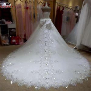 Image 2 - Vestido De novia tul encaje con cuentas De cristal, elegante Vestido De novia, tren largo KA04M, 2020